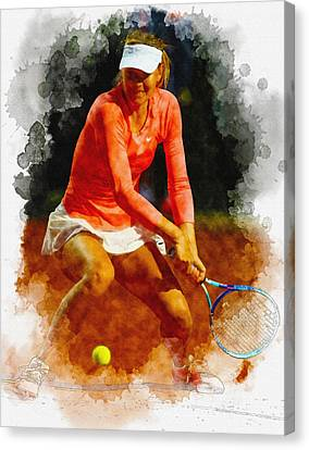 Maria Sharapova Canvas Print - Maria Sharapova Of Russia In Action During Her Match Against Vic by Don Kuing