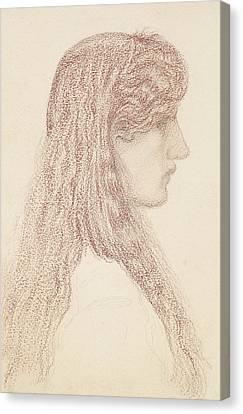 Maria Zambaco Profile Study Canvas Print by Edward Burne-Jones