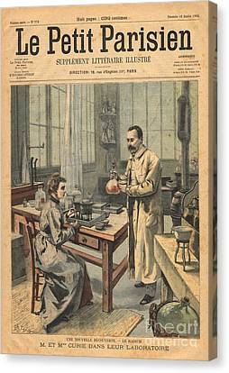 Marie And Pierre Curie In Laboratory Canvas Print