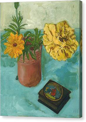Marigolds And June Bugs Canvas Print by Laura Wilson