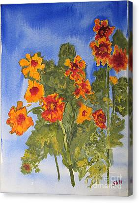 Canvas Print featuring the painting Marigolds by Sandy McIntire