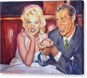 Marilyn And Joe 1952  Canvas Print by David Lloyd Glover