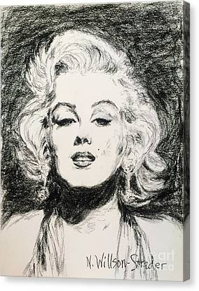Marilyn, Black And White Canvas Print