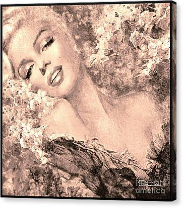 Marilyn Cherry Blossom, B Sepia Canvas Print