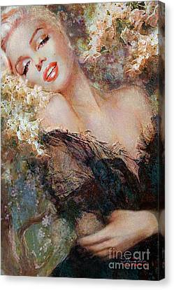 Marilyn Cherry Blossom Canvas Print by Theo Danella