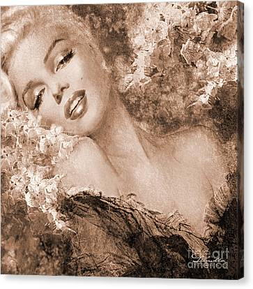 Marilyn Cherry Blossoms, Sepia Canvas Print