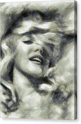 Marilyn Dreamy By Mary Bassett Canvas Print by Mary Bassett