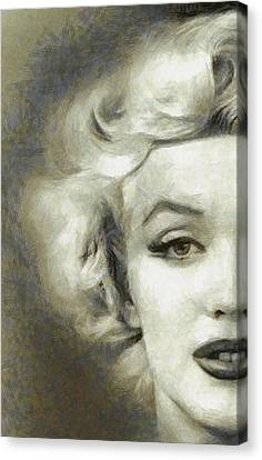 Marilyn Face Off By Mary Bassett Canvas Print by Mary Bassett