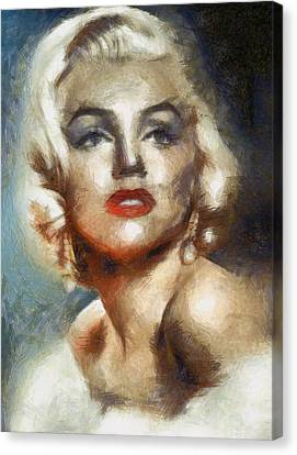 Marilyn Glamour By Mary Bassett Canvas Print by Mary Bassett