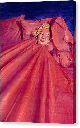 Marilyn In Bed Canvas Print by Ken Meyer jr