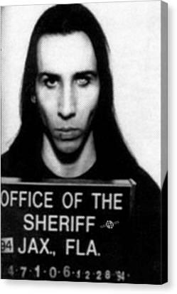 Marilyn Manson Mug Shot Vertical Canvas Print by Tony Rubino