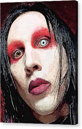 Shock Canvas Print - Marilyn Manson by Taylan Apukovska