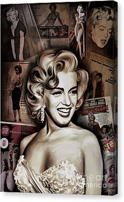 Canvas Print featuring the painting   Marilyn Monroe 4  by Andrzej Szczerski
