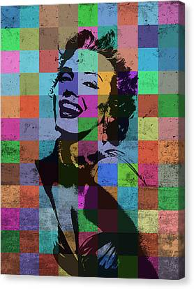 Monroe Canvas Print - Marilyn Monroe Actor Hollywood Pop Art Patchwork Portrait Pop Of Color by Design Turnpike