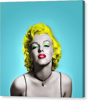 Marilyn Monroe And Blue Canvas Print by Vitor Costa