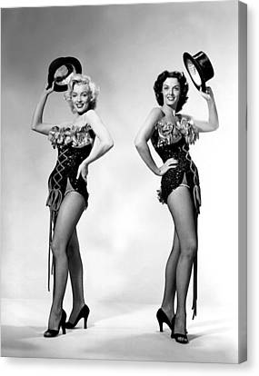 Marilyn Monroe And Jane Russell Canvas Print by American School