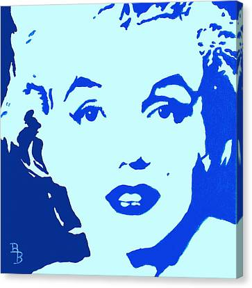 1950s Portraits Canvas Print - Marilyn Monroe Blue Pop Art Portrait by Bob Baker
