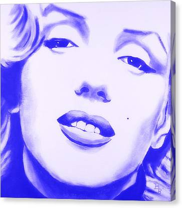 Canvas Print featuring the painting Marilyn Monroe - Blue Tint by Bob Baker