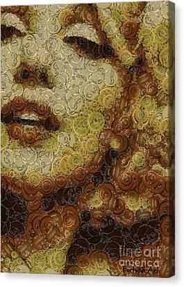 Marilyn Monroe -bottle Caps Canvas Print by Dragica Micki Fortuna