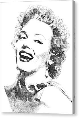 Marilyn Monroe Bw Portrait Canvas Print by Mihaela Pater