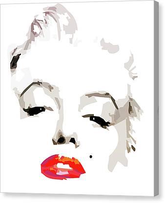 Marilyn Canvas Print - Marilyn Monroe Minimalist by Quim Abella