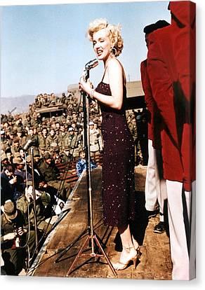 Marilyn Monroe Entertaining The Troops Canvas Print