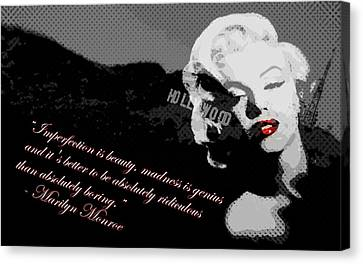 Marilyn Monroe Imperfection Is Beauty Canvas Print by Brad Scott