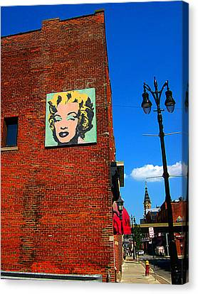 Marilyn Monroe In Detroit Canvas Print by Guy Ricketts