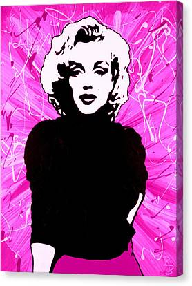 Canvas Print featuring the painting Marilyn Monroe In Hot Pink by Bob Baker