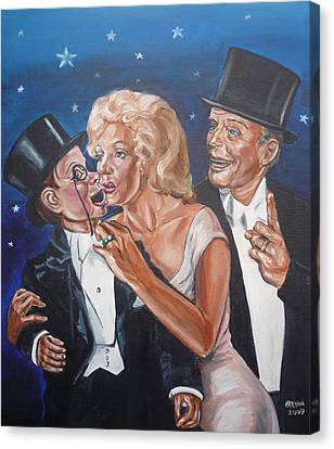 Canvas Print featuring the painting Marilyn Monroe Marries Charlie Mccarthy by Bryan Bustard