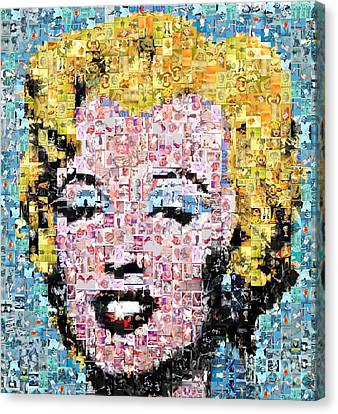 Marilyn Monroe Mosaic Canvas Print by Baltzgar