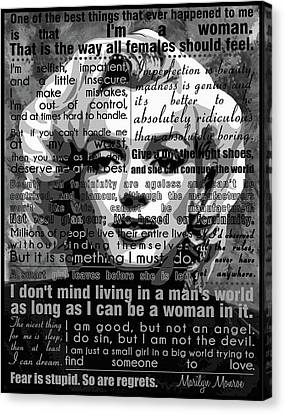 Marilyn Monroe Motivational Inspirational Independent Quotes  Canvas Print