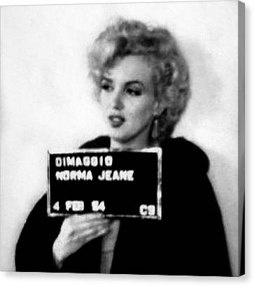 Marilyn Monroe Mugshot In Black And White Canvas Print by Bill Cannon