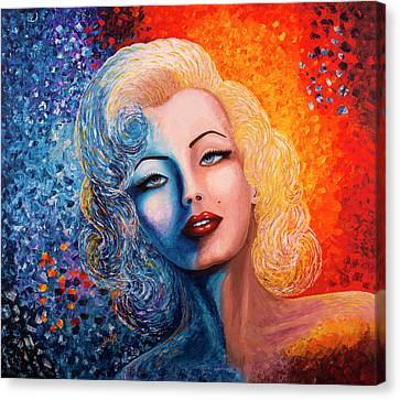 Canvas Print featuring the painting Marilyn Monroe Original Acrylic Palette Knife Painting by Georgeta Blanaru