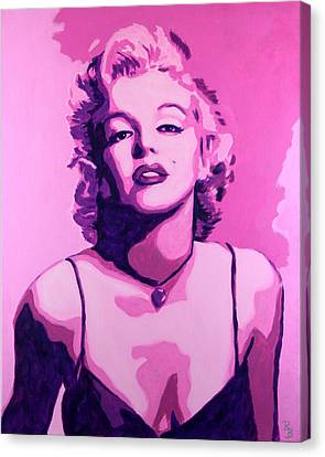 Canvas Print featuring the painting Marilyn Monroe - Pink by Bob Baker