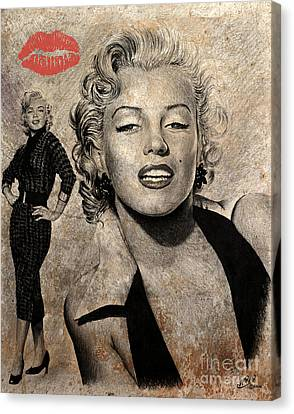 Marilyn Monroe Red Lips Edition Canvas Print by Andrew Read