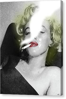 Marilyn Monroe Smokes Canvas Print by Tony Rubino