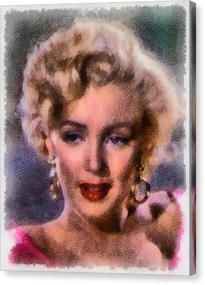Marilyn Monroe Vintage Hollywood Actress Canvas Print by Frank Falcon