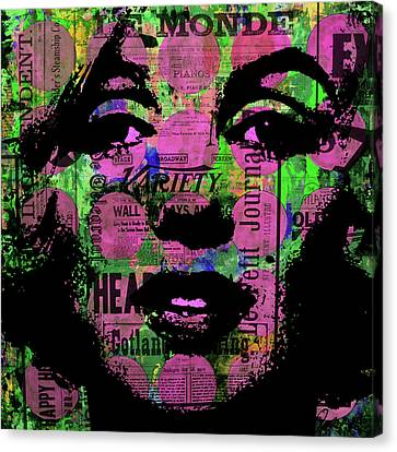 Marilyn Polk Dot Bubble Wrap Pop Art Painting Abstract Robert R Canvas Print by Robert R Splashy Art Abstract Paintings
