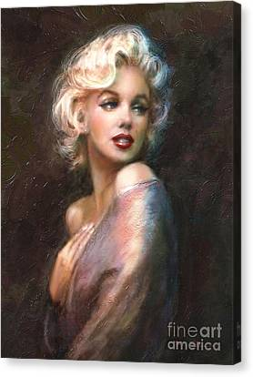 Face Canvas Print - Marilyn Romantic Ww 1 by Theo Danella