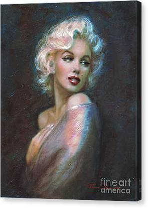 Blond Canvas Print - Marilyn Romantic Ww Dark Blue by Theo Danella