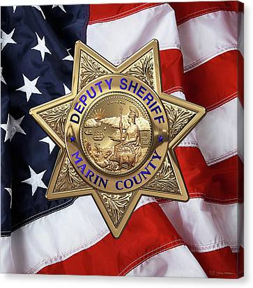 Canvas Print featuring the digital art Marin County Sheriff Department - Deputy Sheriff Badge Over American Flag by Serge Averbukh