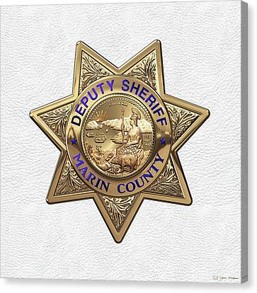 Marin County Sheriff Department - Deputy Sheriff Badge Over White Leather Canvas Print by Serge Averbukh