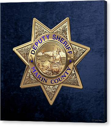 Canvas Print featuring the digital art Marin County Sheriff's Department - Deputy Sheriff's Badge Over Blue Velvet by Serge Averbukh