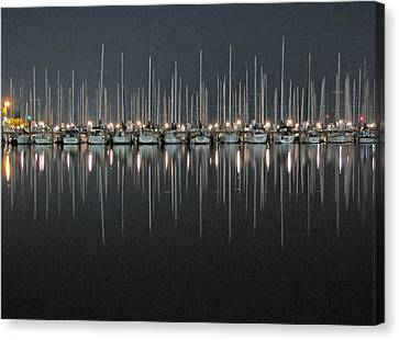 Canvas Print featuring the photograph Marina At Night by Farol Tomson