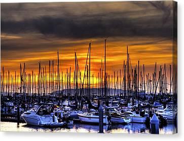 Marina At Sunset Canvas Print by Brad Granger