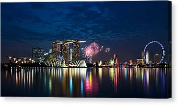 Marina Bay In Panorama Canvas Print by Ng Hock How