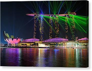 Marina Bay Sands Lasershow Canvas Print by Martin Fleckenstein