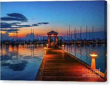 Marina Sunrise Canvas Print by Tom Claud