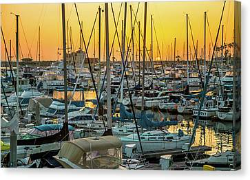 Canvas Print featuring the photograph Marina Sunset by April Reppucci